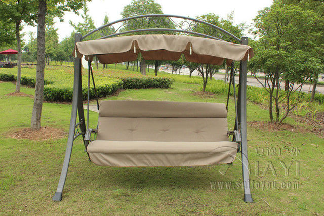 3 person high quality deluxe garden swing chair patio hammock with Arched canopy and cushion & 3 person high quality deluxe garden swing chair patio hammock with ...