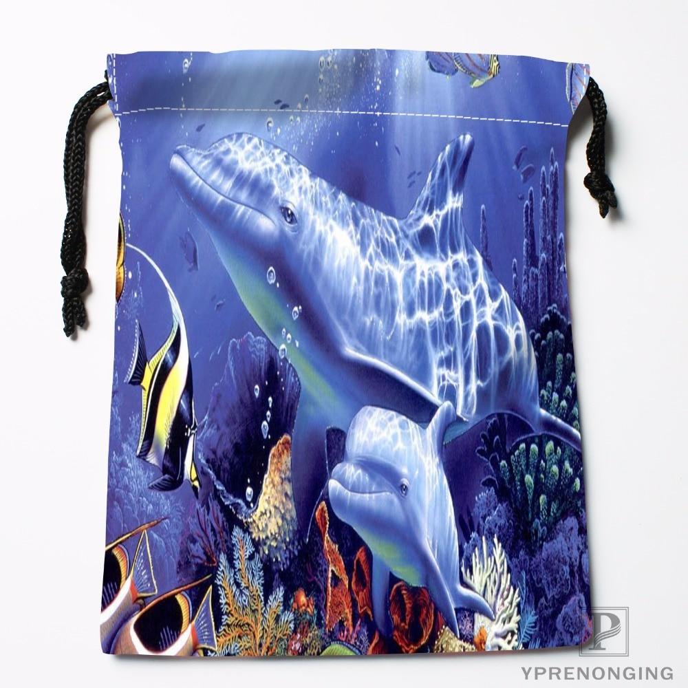 Custom Undersea World Shark Drawstring Bags Travel Storage Mini Pouch Swim Hiking Toy Bag Size 18x22cm#0412-11-106