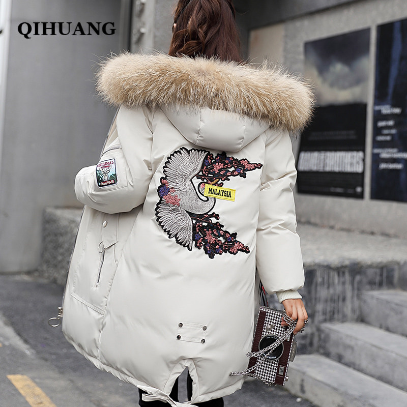 QIHUANG 2018 Winter Women   Down     Coat   Fashion Back Embroidery Fur Collar Hooded Female Duck   Down   Jackets   Coat   Snow Outwear Parkas