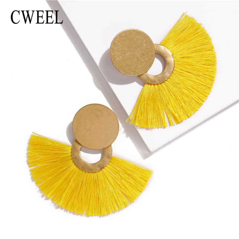 CWEEL Yellow Long Tassel Earrings For Women Earings Fashion Jewelry Hanging Vintage Korean Statement Circle Round Earrings