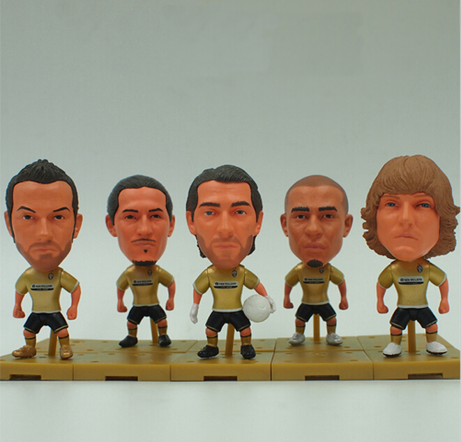 5pcs KODOTO Soccerwe 08-09 Juventus Golden Movable Football Soccer Player star dolls BUFFON PIERO NEDVED TREZEGUET CAMORANESI kodoto soccerwe roma totti football soccer moveable star collection dolls toy figures