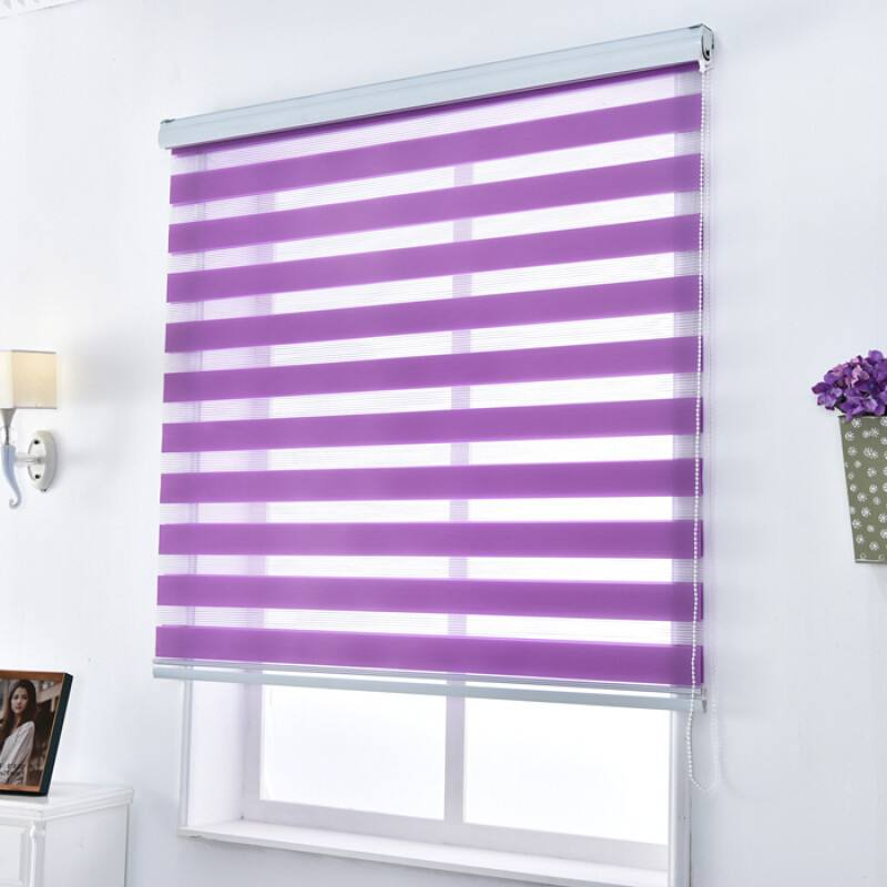 Zebra Blinds 100 Polyester in Purple Translucent Window Curtains Custom Made to Size for Living Room