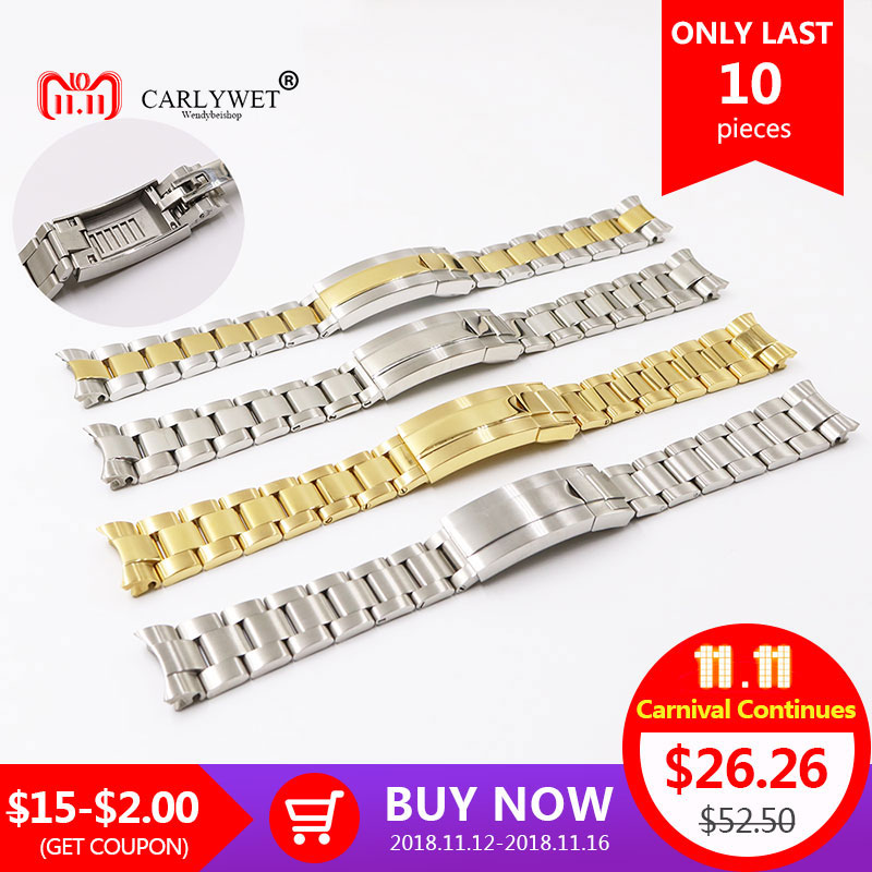 CARLYWET 20mm Two Tone Gold Silver Solid Curved End Screw Link Glide Lock Clasp Watch Band Bracelet For Submariner GMT carlywet 13 17 19 20mm wholesale 316l stainless steel two tone rose gold silver watch band strap oyster bracelet for dayjust
