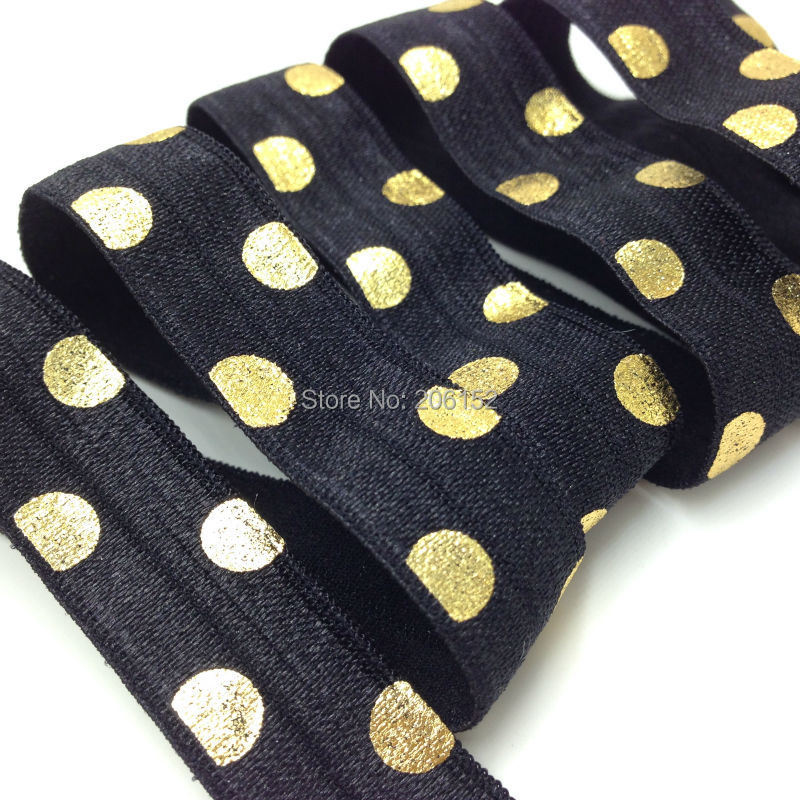 High Quality 5/8' FOE Elastic Ribbon Black Fold Over Elastic With Gold Foil Polka Dot Wholesale for DIY Hair Accessories 10Y/Lot 8 colors 5 8 fold over elastic black with metallic gold diamond 50yards per lot