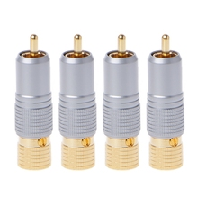 4 Pcs Gold Plated RCA Plug Locking Non Solder Plugs Connector Tail Hole 10MM #0604