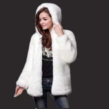Fur coat 2017 new female imitation fur imitation rabbit hair hooded coat coat long section Rex rabbit fur mink An ostrich coat