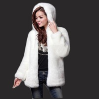Fur Coat 2018 New Female Imitation Fur Imitation Rabbit Hair Hooded Coat Coat Long Section Rex Rabbit Fur Mink An Ostrich Coat