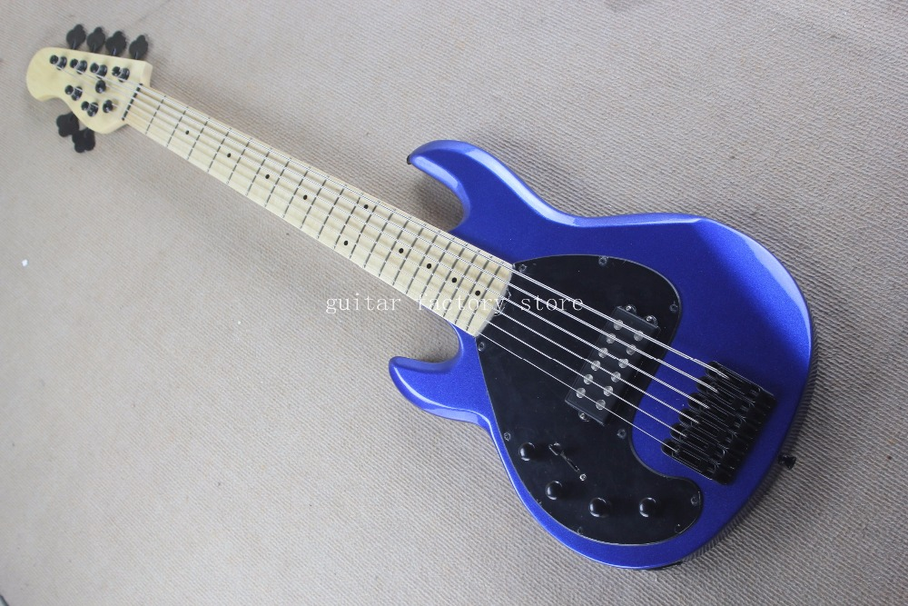 2018 left hand Music man 5 Strings bass, Erime Ball StingRay Electric Guitar, black Hardware,blue bass guitarra