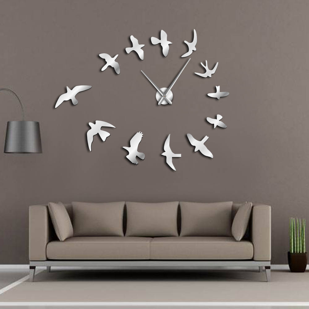 Decorative Mirror Us 11 99 Decorative Mirror Wall Clock Flying Birds Wall Clock Modern Design Luxury Frameless Diy Large Clock Wall Watch Nature Room Decor In Wall