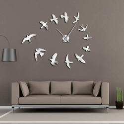 Decorative Mirror Wall Clock Flying Birds Wall Clock Modern Design Luxury Frameless DIY Large Clock Wall Watch Nature Room Decor