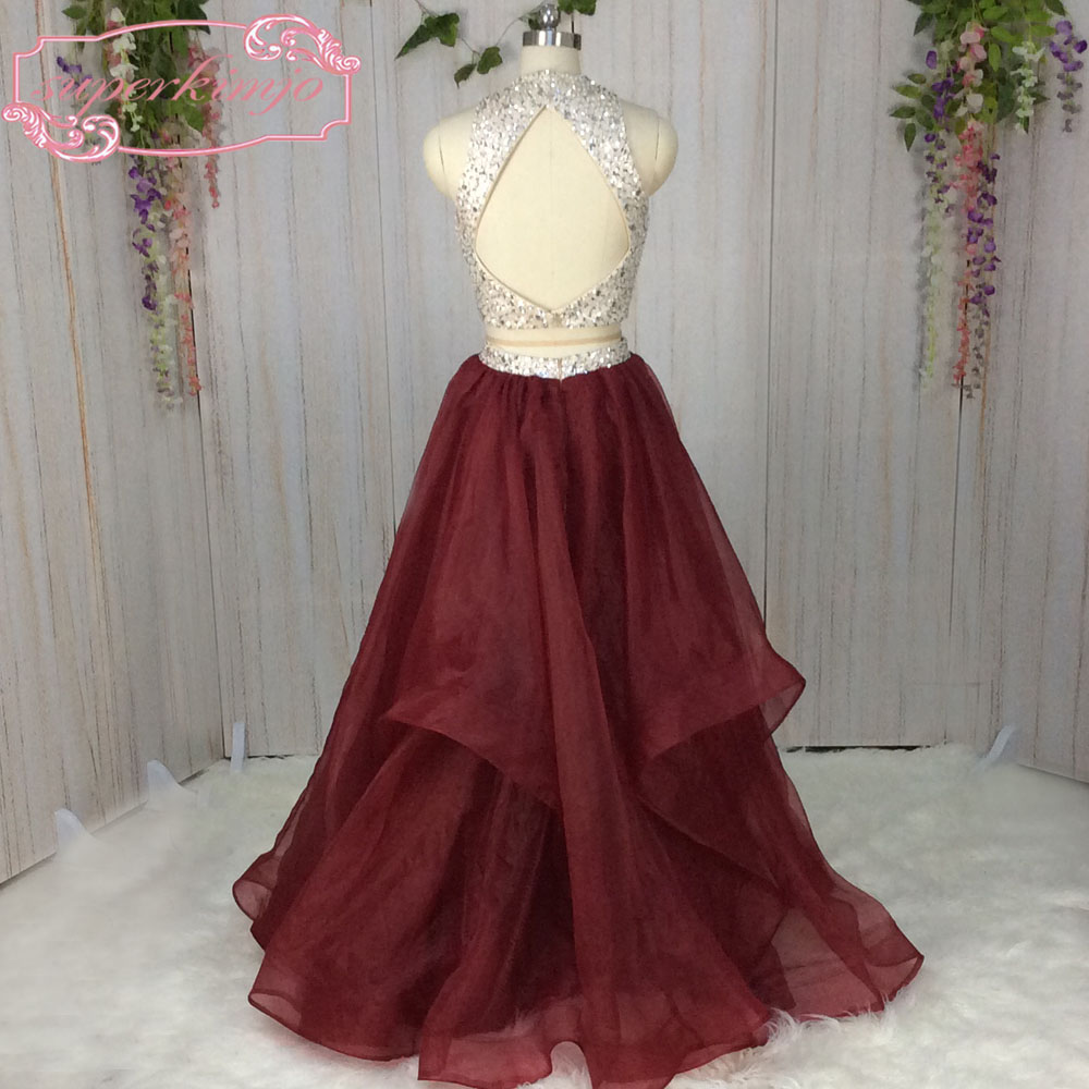 7267d1faff5 SuperKimJo Halter Prom Dresses with Rhinestones 2 Piece Prom Dresses ...
