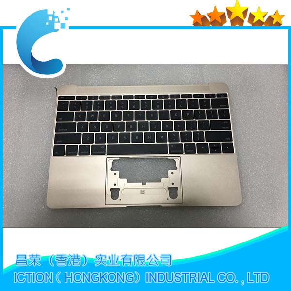 Original Gold Color For Macbook Pro Retina 12 A1534 Topcase With US Keyboard Upper Top Case Palmrest  US Layout 2016 Years new original lenovo yoga 3 pro 13 palmrest upper case keyboard backlit with touchpad cable us uk