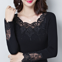 New Fashion Blusa Women O neck Shirt Slim Solid Color Shirt Long sleeved Female Lace Tops Ladies Lace Blouse Plus Size 4XL