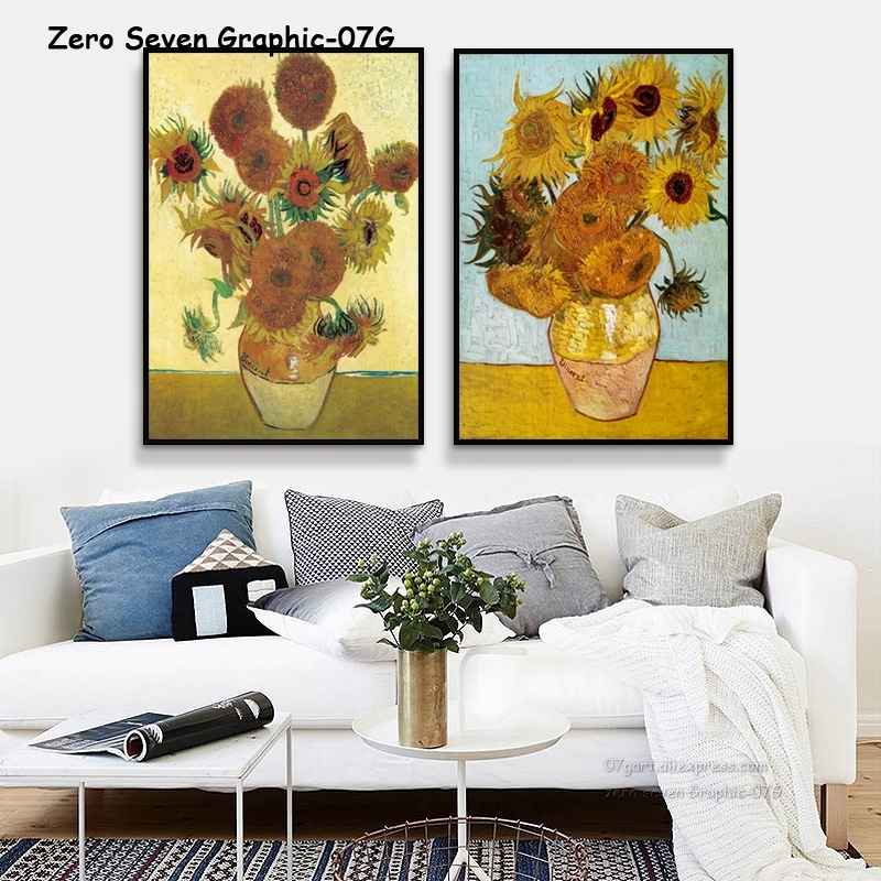 HTB1cphHJ3HqK1RjSZFEq6AGMXXaD 07G Van Gogh Oil Painting Works Sunflower Apricot Abstract A4 A3 A2 Canvas Art Print Poster Picture Wall House Decoration Murals