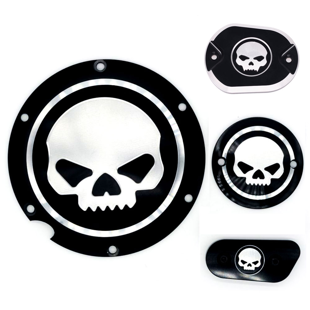 Black Motorcycle Skull Timing Cover Timing Accessories Derby Timer Cover For Harley Davidson Sportster Iron XL 883 1200 04-17 motorcycle parts black deep cut finned derby timing timer cover for harley davidson sportster xl883 xl1200