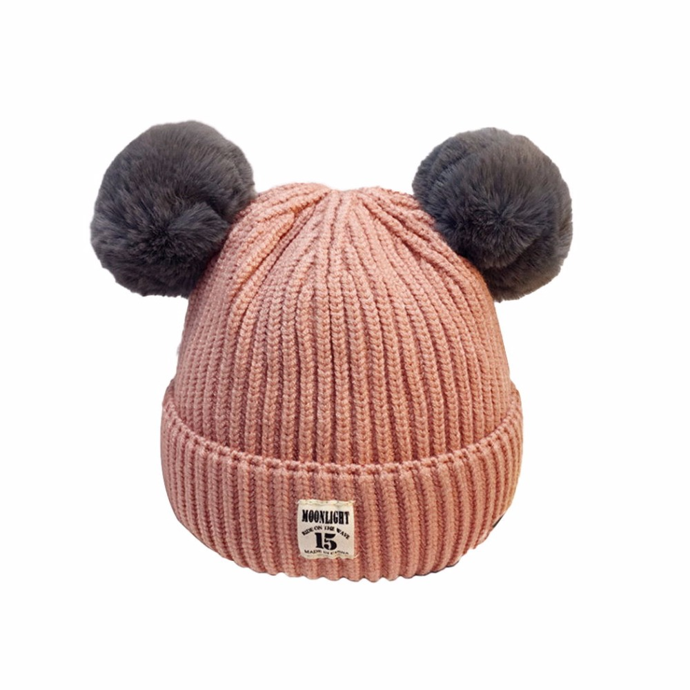 2018 New Baby Hats Boys Girls Kids Winter Hats For Children Baby Muts Knitted Beanies Warm Pom Pom Hat