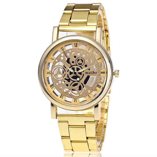 MEIBO Women Fashion Hollow Out Watch Casual Bracelet Quartz Watch Clock 2066 gold цена
