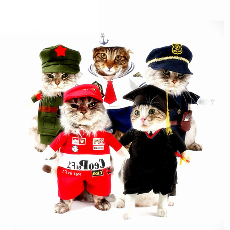 Funny Pet Cat Dog Clothes Costume Nurse Policeman Suit Clothing For Cat Cool Pet Cat Puppy Dogs Clothes Uniform Hat Cosplay Suit