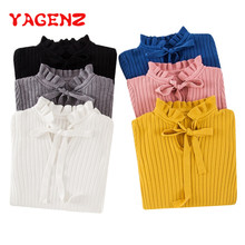 YAGENZ Casual Autumn Women Sweater Winter Knitted Sweater Lace Up Flare Long Sleeve Ruffle Knitting Pullover Womens Sweaters 236