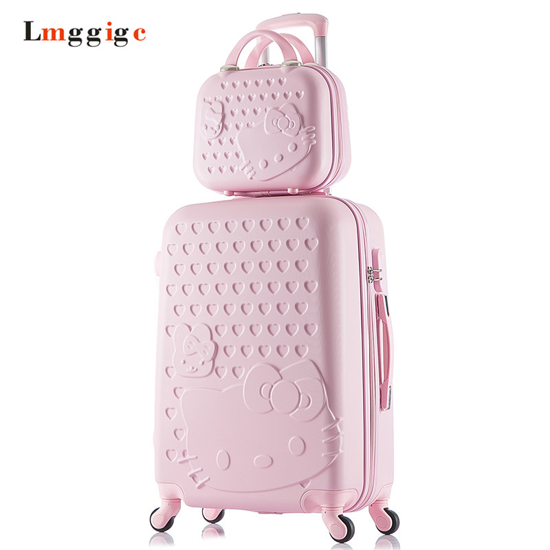 2022242628inch Hello kitty Luggage set,Cartoon KT cat Suitcase,Candy colors Spinner wheels Trolley,Travel Drag Box, Lockbox