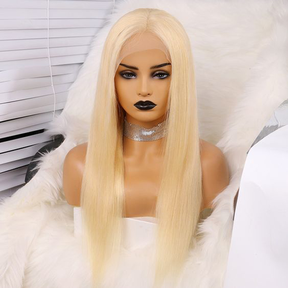 Image 2 - 150% Density 13X4 Blonde Lace Front Human Hair Wigs With Transparent Lace Pre Plucked Straight Brazilian Remy 613 Lace Front Wig-in Human Hair Lace Wigs from Hair Extensions & Wigs