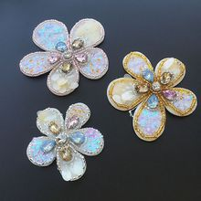 Fashion hand-beaded sequins flowers a set of cloth stickers clothing diy decorative accessories