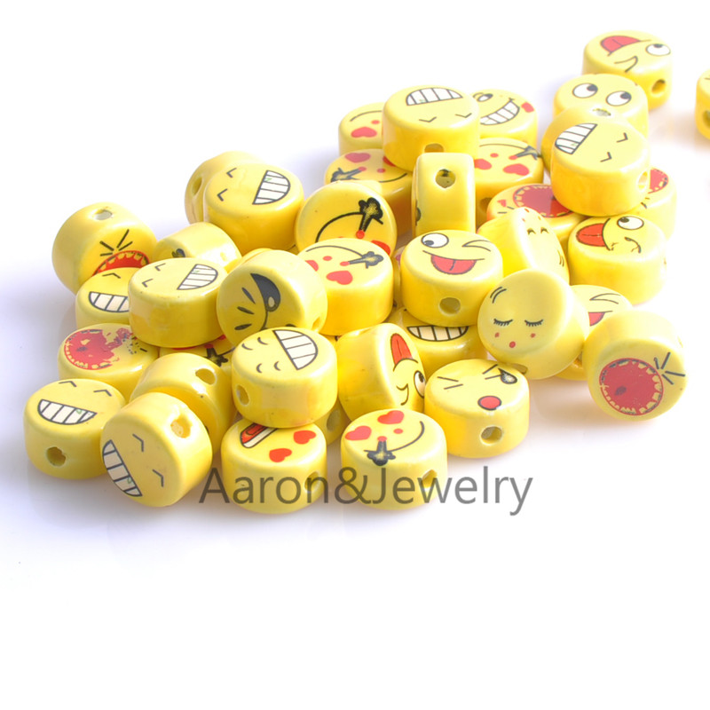 15.5x9mm 20pcs yellow Porcelain Ceramic Beads,oblate Spacer Beads Fit Jewelry YKL0309