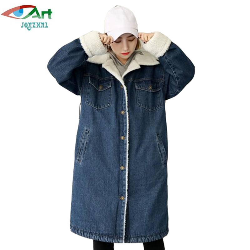 JQNZHNL 2017 New Winter Women Medium Long Denim Cotton Jackets Coats Single Breasted Casual Thicken Lambswool Cotton Jacket E907