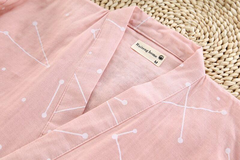 Image 5 - Gauze Cotton Japanese Pajamas V Neck Kimono Pijama Men Women Pijamas Couples Spring Summer Lounge Casual Wear Long Pants SetsPajama Sets   -
