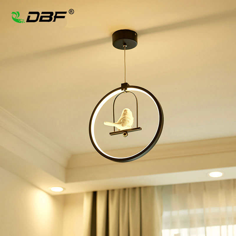 [DBF]Modern Art LED Pendant Light 3 colors Adjustable Creative Bird Restaurant Light Foyer Bedroom Home Hanging Light Fixtures modern 3 color adjustable triangle