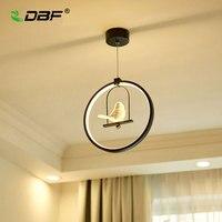 [DBF]Modern Art LED Pendant Light 3 colors Adjustable Creative Bird Restaurant Light Foyer Bedroom Home Hanging Light Fixtures
