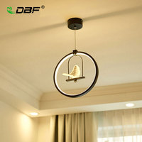 DBF Modern Art Angel LED Pendant Light 3 Colors Adjustable Creative Bird Restaurant Light Foyer