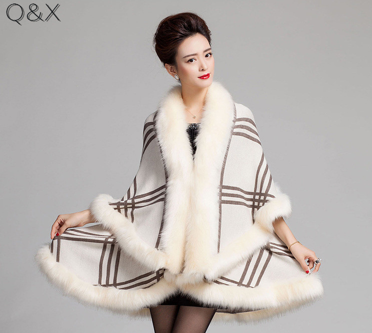 SC98 2017 Winter Warm Long Knitted 2 Layers Poncho Cape Cashmere Plaid Shawl Women Imitation Fur European Cardigan Coat