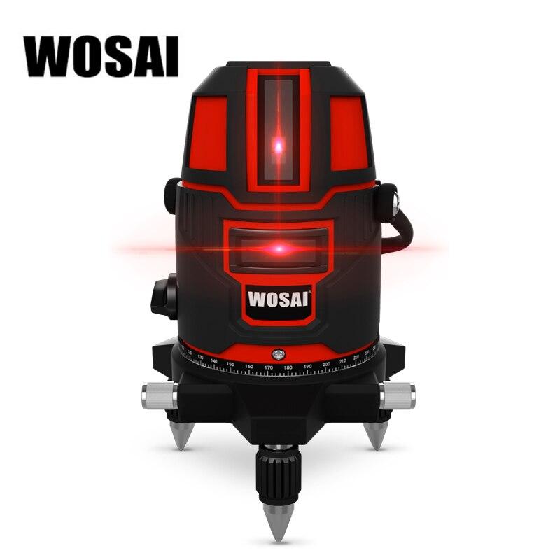 WOSAI Супер Красная Лазерная 360 градусов Поворотный уровень 5 линий 6 очков открытый 635nm перекрестной линии лазерный уровень точках наклон Функ...