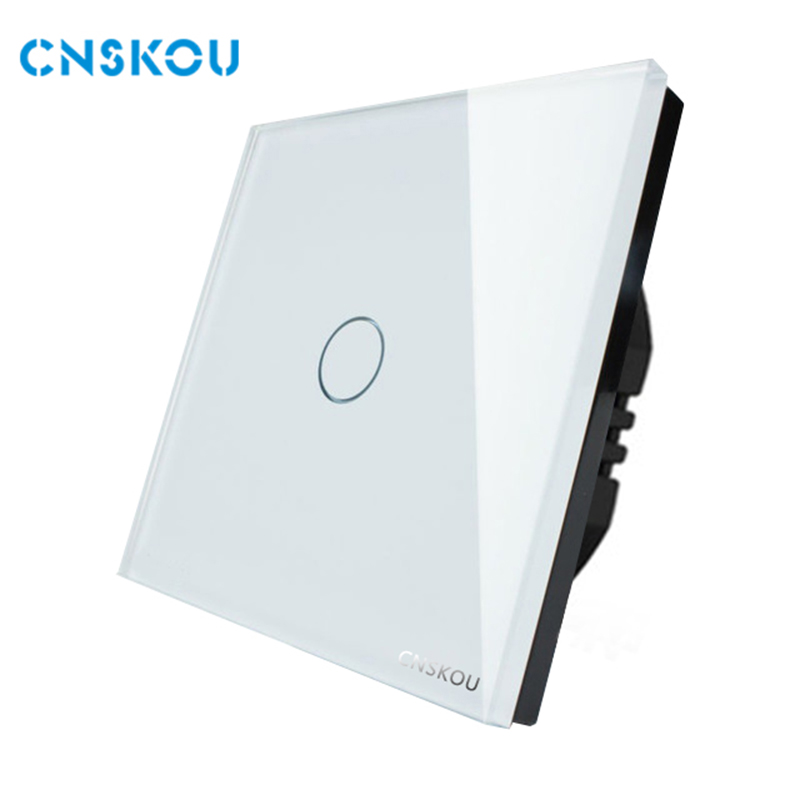 EU standard touch switch 1gang 1way crystal glass panel touch sensor switch wall  electrical led switch Cnskou manufacturer smart home eu touch switch wireless remote control wall touch switch 3 gang 1 way white crystal glass panel waterproof power