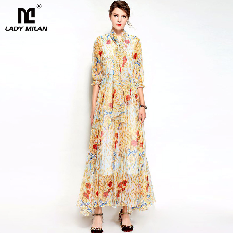 New Arrival Womens O Neck 3/4 Sleeves Floral Printed Elegant Fashion Long Casual Dresses