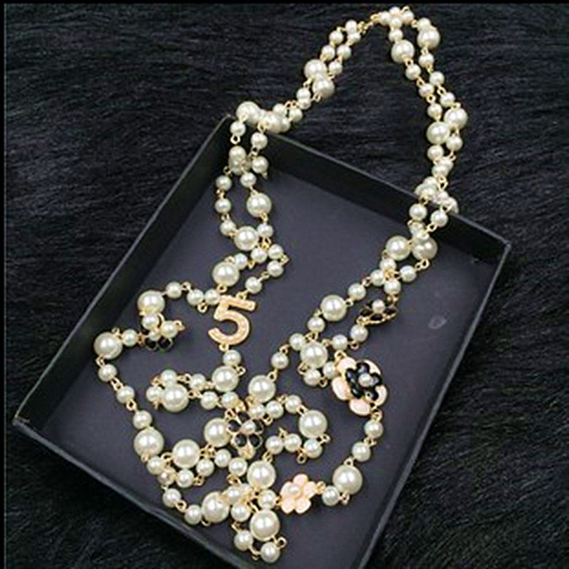 XL20 CC jewelry famous brand neckless flowers long pearl sautoir collier femme perle necklace collares largos women accessories
