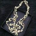 XL20 CC joyería famosa marca sin cuello collar de flores de perlas largo sautoir collier femme perle collares largos mujeres accesorios