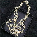 XL20 jóias CC famosa marca neckless flores longo pérola sautoir colar collares largos perle collier femme mulheres acessórios