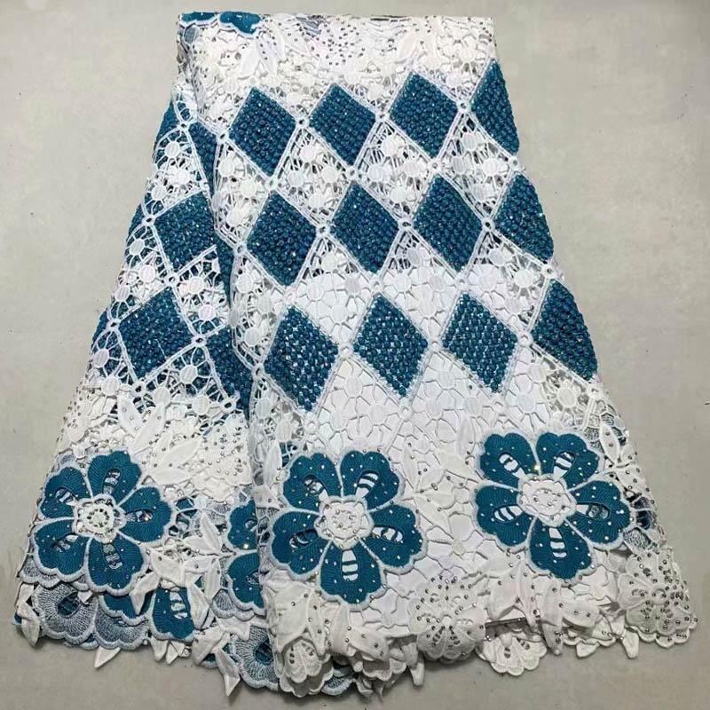 Ev ve Bahçe'ten Dantel'de Sıcak Satış yüksek kaliteli dantel kumaşlar ile taşlar Işlemeli Afrika Suda çözünür dantel kumaş düğün elbisesi 5 Metre NE 003'da  Grup 3