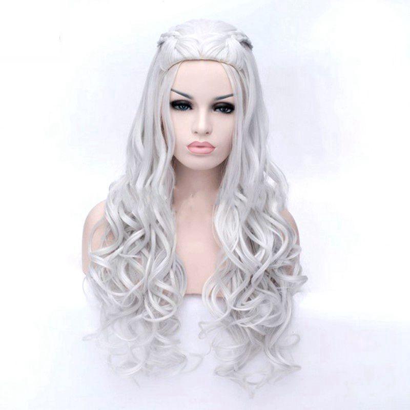 JOY&BEAUTY Synthetic Hair Long Wavy Wig Game of Thrones Daenerys Targaryen Cosplay Wig High Temperature Fiber Hair Wig Gray Gold(China)