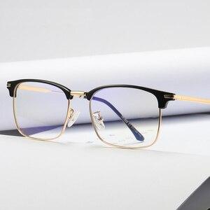 Computer Optical Glasses Men Anti blue light Black Semi Rimless Women Eyewear Frames TR90 Half Metal Unisex B1828