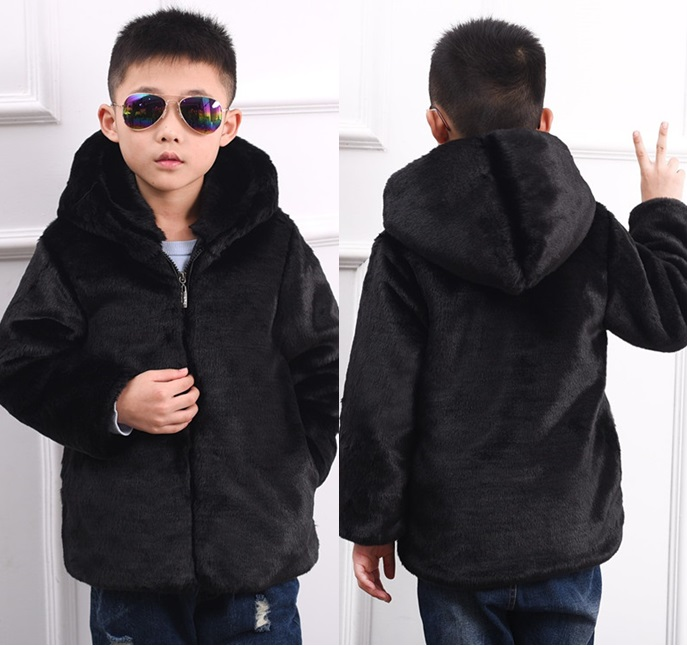 2016 Children faux fur coat boy and girl fake fur hooded coat models baby thicker warm