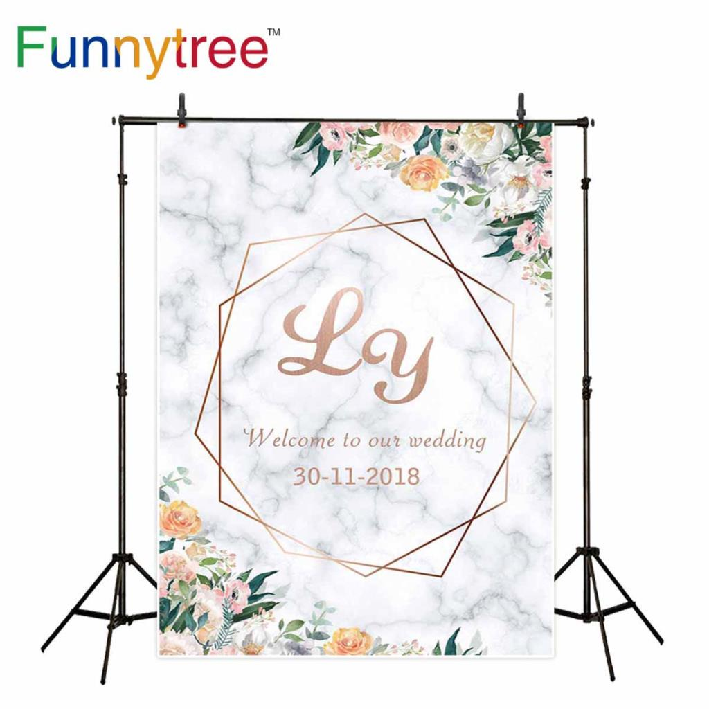 Funnytree background photography White marble texture Rose gold frame flowers photocall wedding backdrops photophone wallpaper shelf