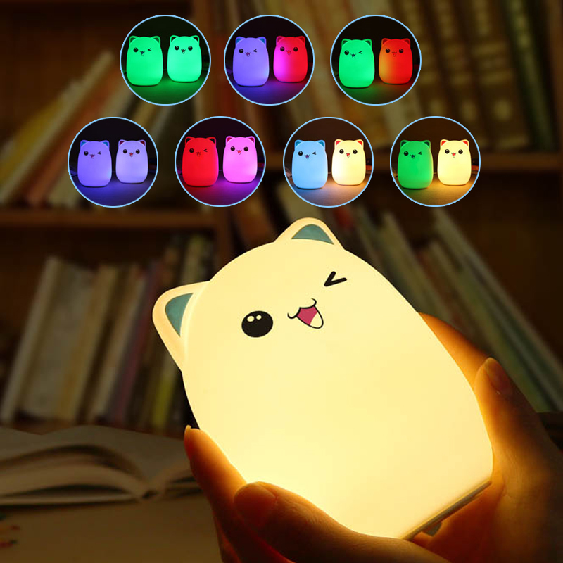 Colorful 7 Colors 2 Modes Bear LED USB Children Animal Night Light Silicone Soft Cartoon Baby Lamp Breathing Bedroom Light