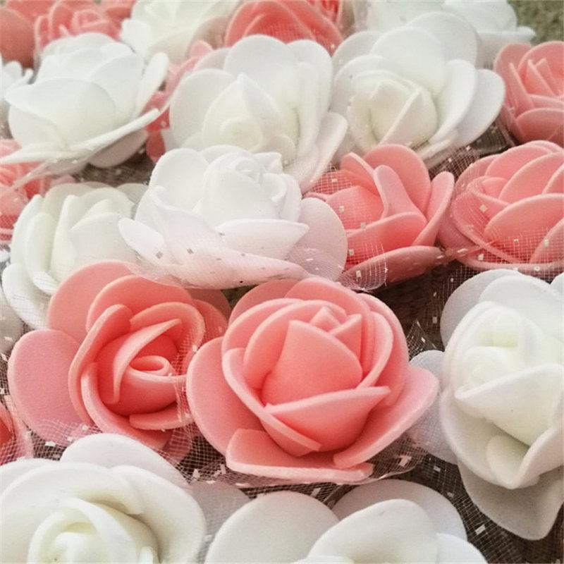 50 шт./лот 3,5 см мини ПЭ пена роза цветок шелк искусственный цветок голова ручной работы DIY свадебная домашняя вечерние декоративные ремесла поставки