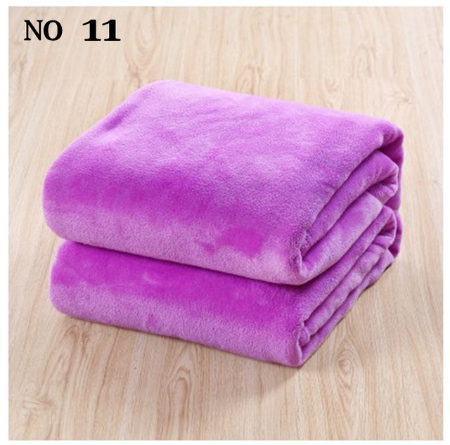 Envío gratis tamaño 150 x 200 cm sofá / de aire / tiro lecho de color sólido y de viaje de doble cara manta manta de franela bebé ropa de cama