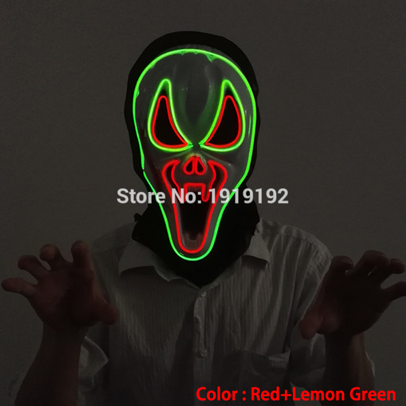 2017 New Fashion Style Halloween party decorations El wire Flashing Mask ghost scary masks Colorful Anonymous