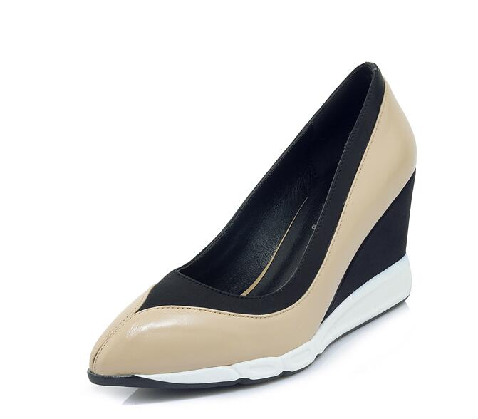Cuir Chaussures C271 2018 Mix Talons Véritable white Automne Sexy Couleur European Xgravity Apricot Lady New En American Mode Wedge Robe Parti C0xUvqwd