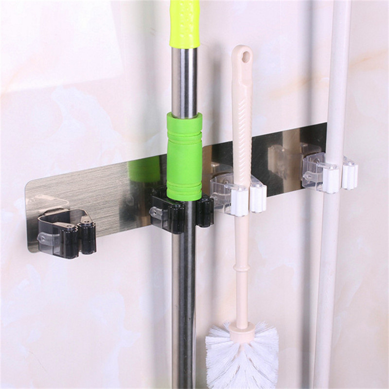 Yooap Broom Hanger 2-Hanging Hole Self Adhesive Plastic Wall Mounted Rack Seamless Mop Broom Holder